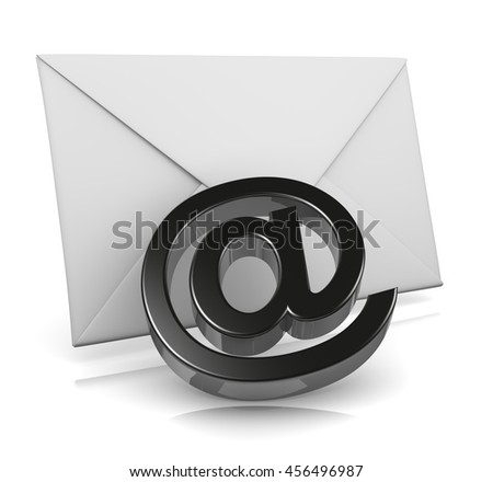 Single Mail Envelope with Email Black At Symbol 3D Illustration on White Background - stock photo