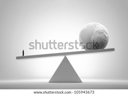 Single man outweighing the world - comparative advantage concept illustration - stock photo
