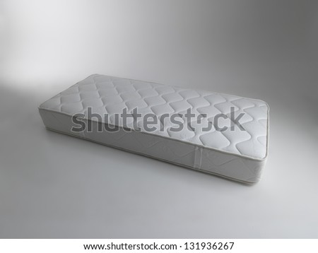 single mattress isolated on white - stock photo