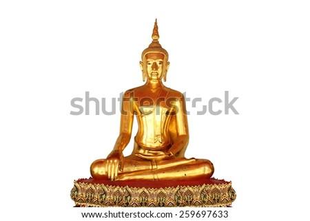 single meditation buddha statue in buddhist temple wat pho, bangkok, thailand,  isolated on white background - stock photo