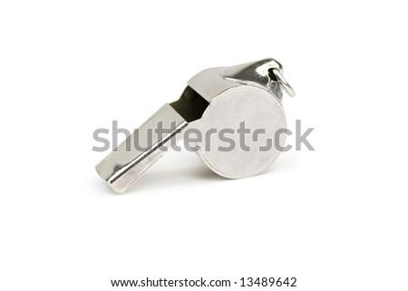 Single metal whistle. Isolated on white - stock photo