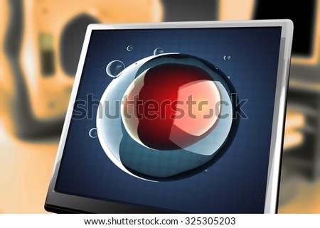 single micro cell at monitor - stock photo