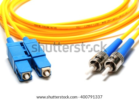 single-mode optical connector LC and ST-type isolated on a white background. - stock photo