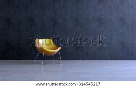 Single Modern Gold Colored Chair in Empty Room with Dark Gray Walls and Smooth Wooden Floor. 3d Rendering. - stock photo