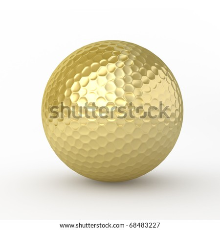 Single Object Golfball gold (clipping path) - stock photo