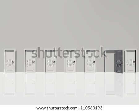 Single open door amonsgt several leads to nowhere in huge white wall in white space - stock photo