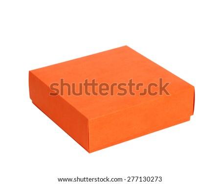 Single orange box on white background, cut out - stock photo