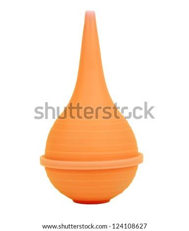 Single orange medical enema isolated on white - stock photo