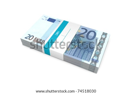 single packet of 20 Euro notes with bank wrapper - 5.000 Euros - stock photo