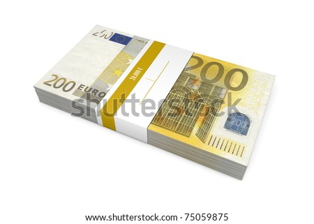 single packet of 200 Euro notes with bank wrapper - 20.000 Euros - stock photo