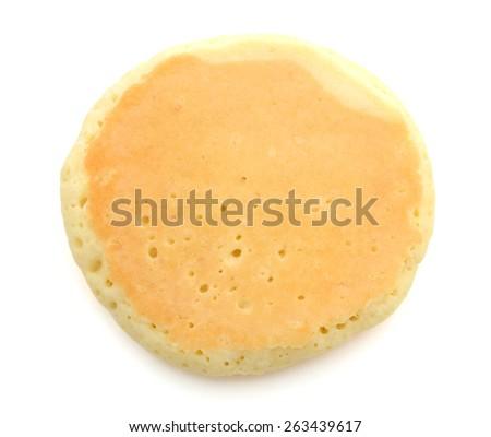 single pancake on white background  - stock photo