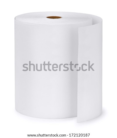 Single paper roll isolated on white - stock photo