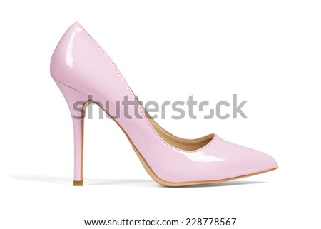 Single pink women's heel shoe isolated over white with clipping path. - stock photo