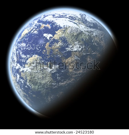 Single planet with deep atmosphere isolated on black - stock photo