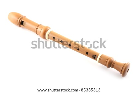Single recorder on a white background. - stock photo
