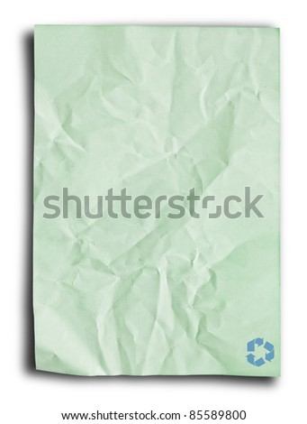 Single recycled paper for make note on white background. - stock photo