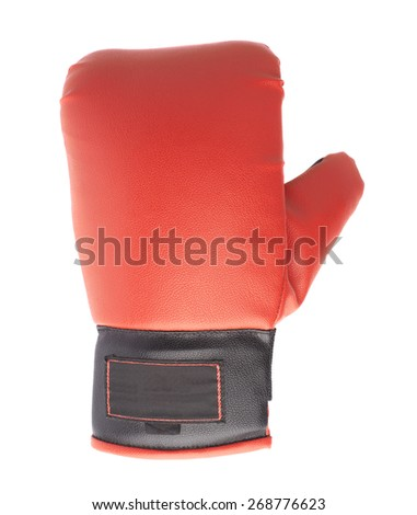 Single red and black boxing glove isolated over the white background - stock photo