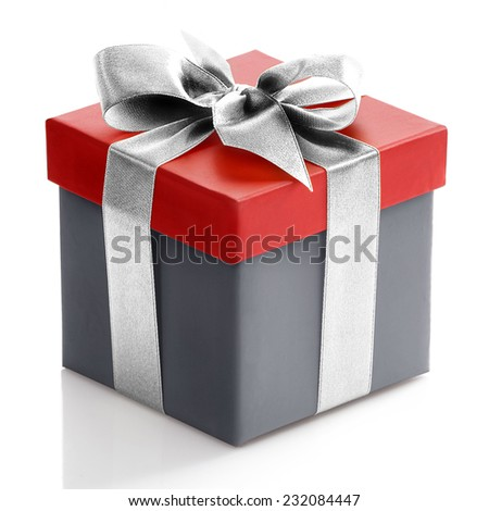 Single red and grey gift box with sliver ribbon on white background.  - stock photo