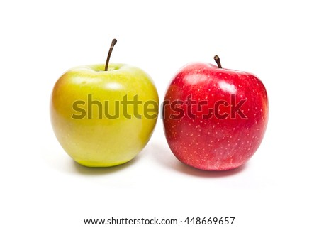 Single red apple and one green apple. Juicy ripe fruits. With clipping path. Isolated on white background. - stock photo