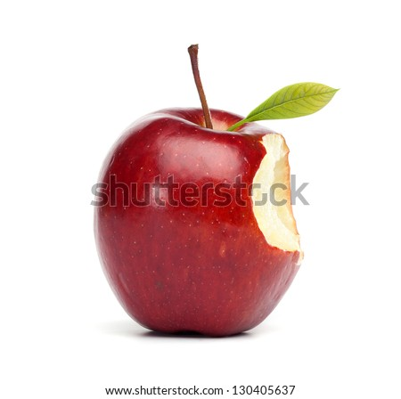Single red apple with a bite mark, isolated on white background - stock photo