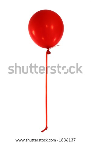 single red balloon with red ribbon trailer on white background - stock photo