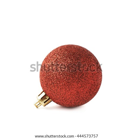 Single red Christmas tree ball decoration isolated over the white background - stock photo
