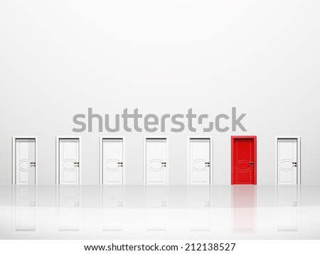 Single red door in huge white wall in white space - stock photo
