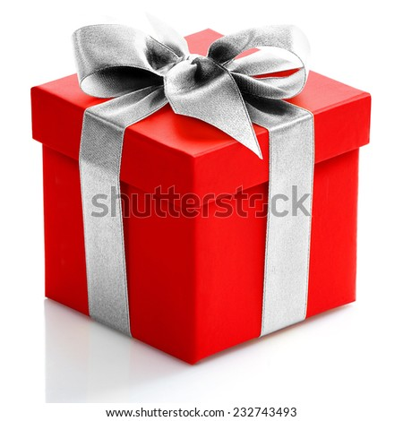 Single red gift box with gold ribbon on white background.  - stock photo