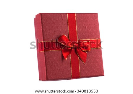 Single red gift box with white ribbon isolated on white background - stock photo
