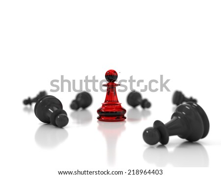 Single red glass pawn surrounded by a number of fallen black chess pieces - stock photo