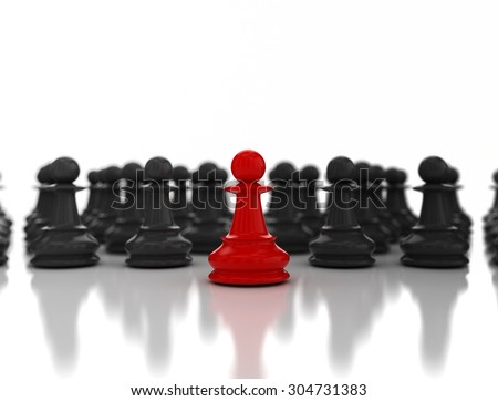 Single red pawn. Standing out from the crowd. Business strategy concept background - stock photo