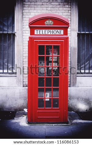 Single red phone box, London - stock photo