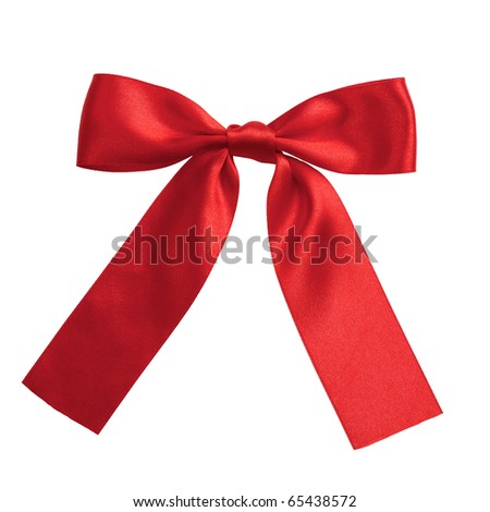 single red ribbon gift bow isolated on white - stock photo
