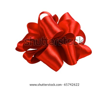 single red ribbon satin gift bow isolated on white - stock photo