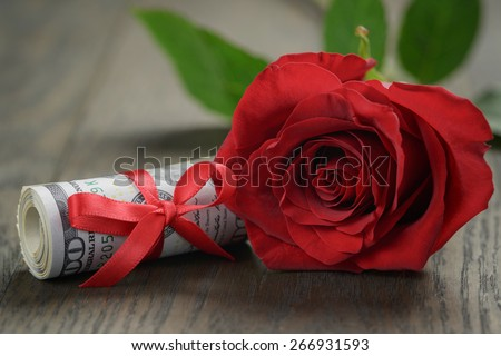 single red roses and bunch of dollar bills, Shallow DOF - stock photo