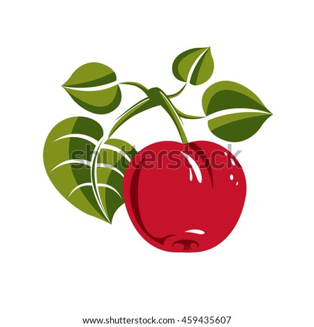 Single red simple apple with green leaves, ripe sweet fruit illustration. Healthy and organic food, harvest season symbol.  - stock photo