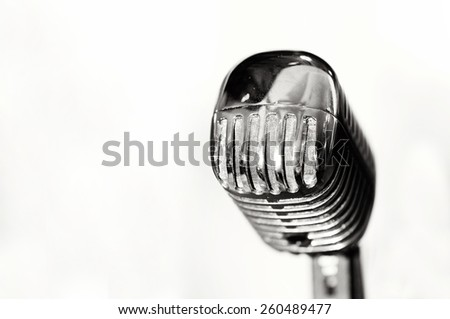 single retro microphone isolated on white background - stock photo