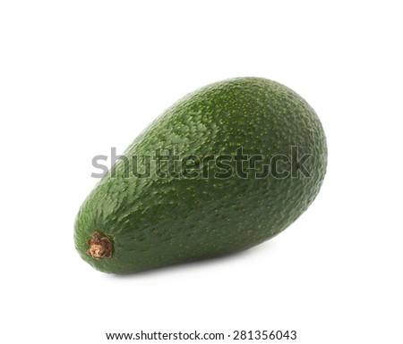 Single ripe green avocado fruit isolated over the white background - stock photo