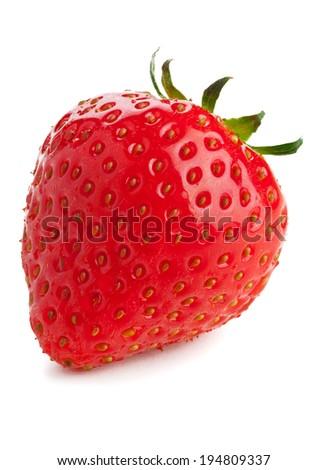 Single ripe organic strawberry on white background - stock photo