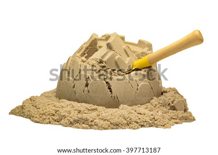 Single Sand Castle Tower Made of Magic Sand Isolated On White Background, Indoor Or Outdoor Summer Activity, Front View, Close Up, Isolated - stock photo