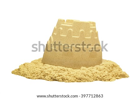 Single Sand Castle Tower Made ofMagic Sand Isolated On White Background, Indoor Or Outdoor Summer Activity, Front View, Close Up, Isolated - stock photo