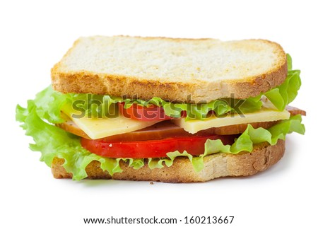 Single sandwich with fresh cheese, salad and meat isolated over white background - stock photo