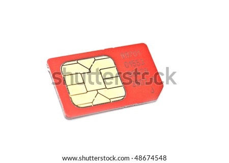 Single simcard isolated on white - stock photo