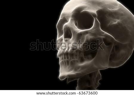 Single Skull A fractal filtered image of a human skull. Horizontal. - stock photo