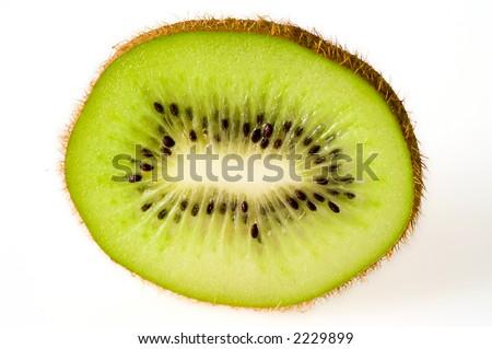 single slice of kiwi fruit - stock photo