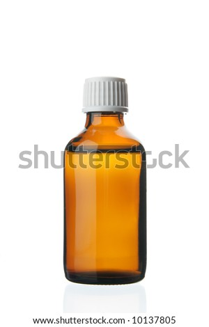 Single small bottle with drug isolated over white background - stock photo