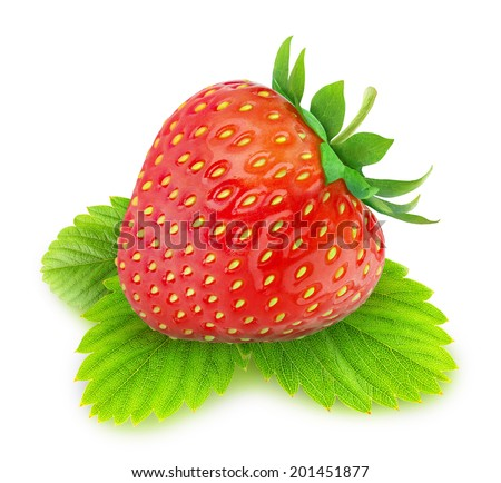 Single strawberry on a leaf over white background - stock photo
