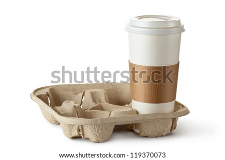 Single take-out coffee in holder. Isolated on a white. - stock photo