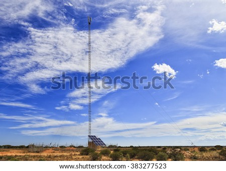 single tall retranslation station with mobile telecom tower in a middle of Nullarbor plain in South Australia serving remote rural areas - stock photo