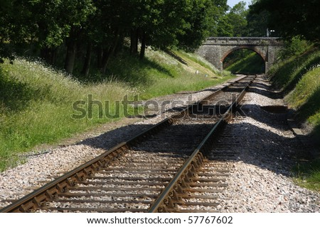 single track railway line - stock photo